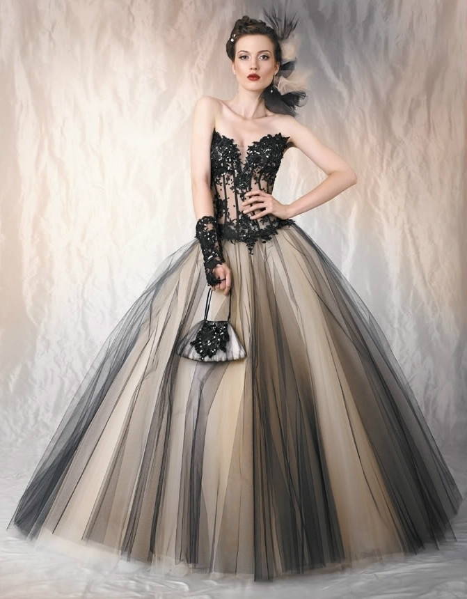 Black lace and tulle strapless sweetheart ballgown, FREE SHIPPING!