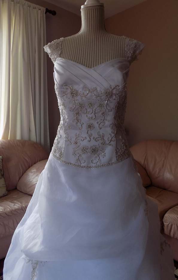 Cap sleeve embroidered satin and organza wedding ball gown for Rent wedding dress london