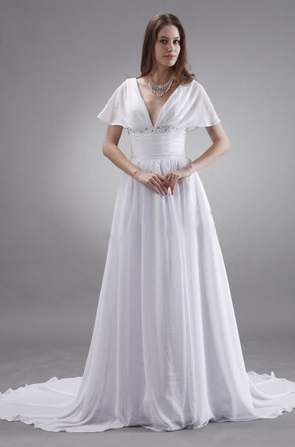 Chiffon Bridal Gown with Cape Sleeves, A-line, flattering ...