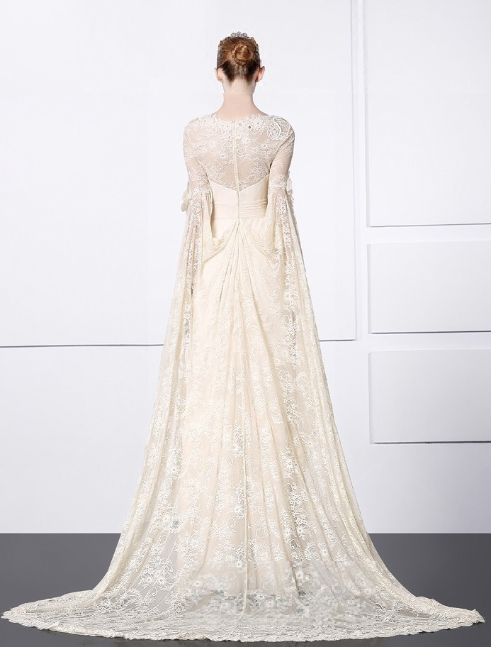 Chiffon Bridal Gown with Long Lace Sleeves, Boho wedding, vow ...