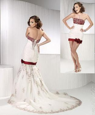 Convertible Embroidered Satin Fit And Flare Wedding Gown Shown With Red Accent Colour