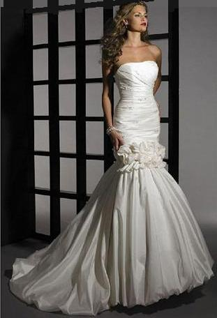 Convertible Mermaid Style Taffeta Wedding Gown Removable Skirt Free Shipping