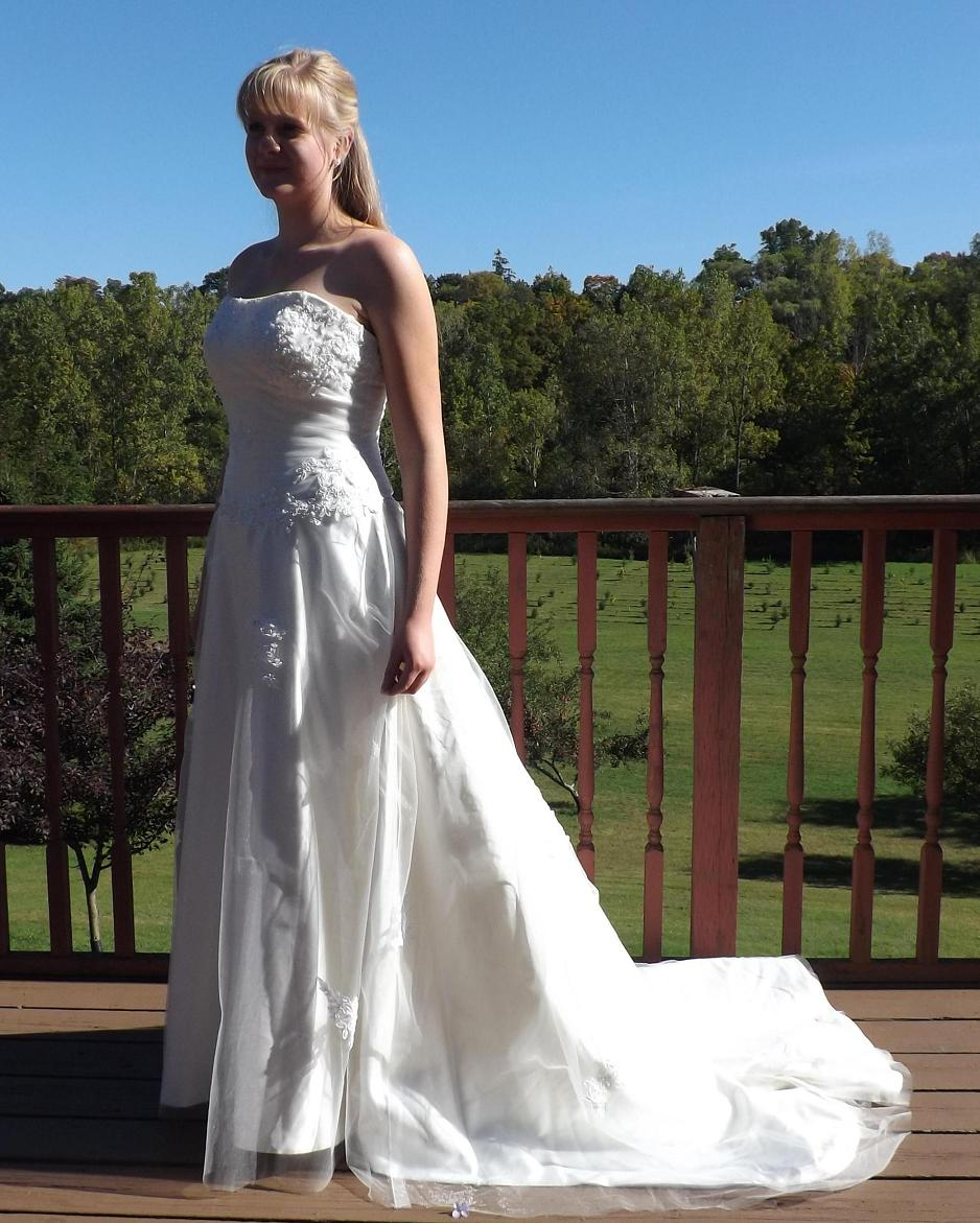 Rent A Wedding Dress: Tulle Over Satin Princess Style Ivory Bridal Gown, With