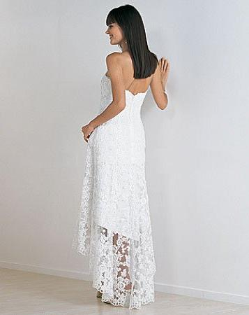 Strapless lace over satin beach bridal dress hi lo for Hi lo hemline wedding dresses