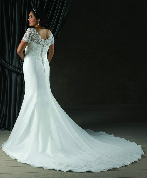 Elegant Mermaid Style Plus Size Wedding Dress, Satin & Lace ...
