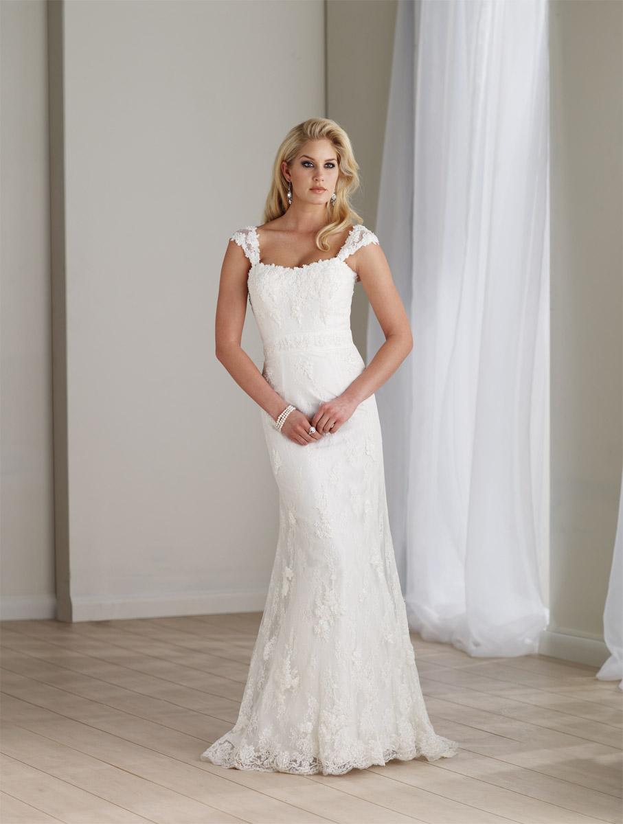 Elegant and Lovely Lace Wedding Dress with Cap Sleeves, FREE SHIPPING!