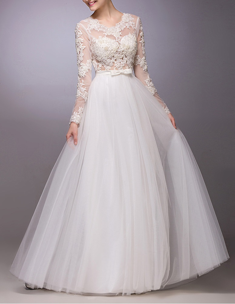 930f0060cf Embroidered Organza Wedding Dress with Long Sleeves, romantic and ...