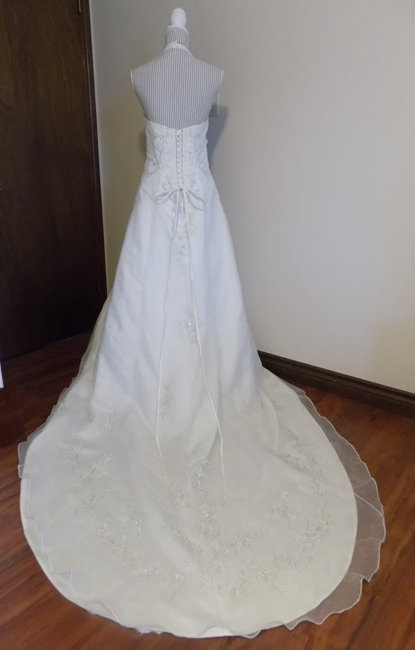 Embroidered organza over satin halter neck wedding gown for Rent wedding dress london