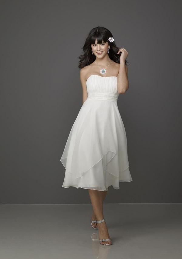 Empire Line Knee Length Handkerchief Hem Bridesmaids Dress $215.00 ...