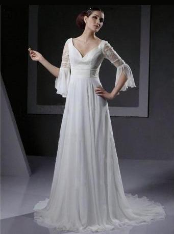 Empire line sweetheart chiffon wedding gown with lace for Chiffon sweetheart wedding dress