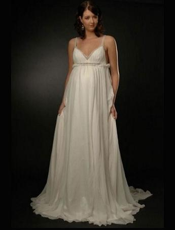 Exquisite empire style chiffon maternity wedding dress for Empire style wedding dress