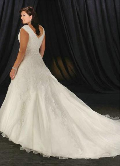 Full Figure V Neckline Satin And Organza Wedding Dress Can Custom Make To Exact Measurements