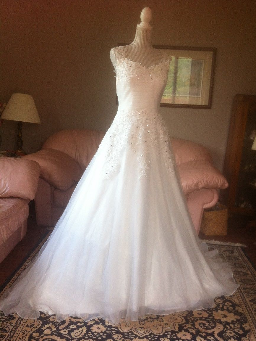 Chiffon over satin bridal gown with lace shoulder straps for Rent wedding dress london