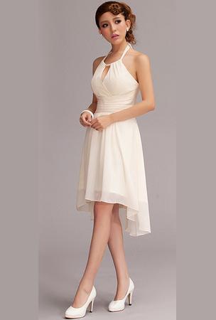 Halter Neckline Chiffon Asymmetrical Short Beach Wedding Dress ...