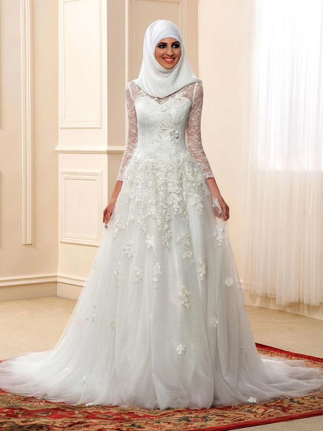 High neckline long sleeve lace muslim wedding dress with for Wedding dresses with sleeves for sale