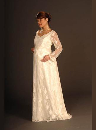 Lace maternity wedding gown with long sleeves sweetheart for Long sleeve lace maternity wedding dress