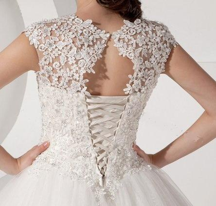 Mandarin Collar Organza and Lace Wedding Gown - exquisite and ...