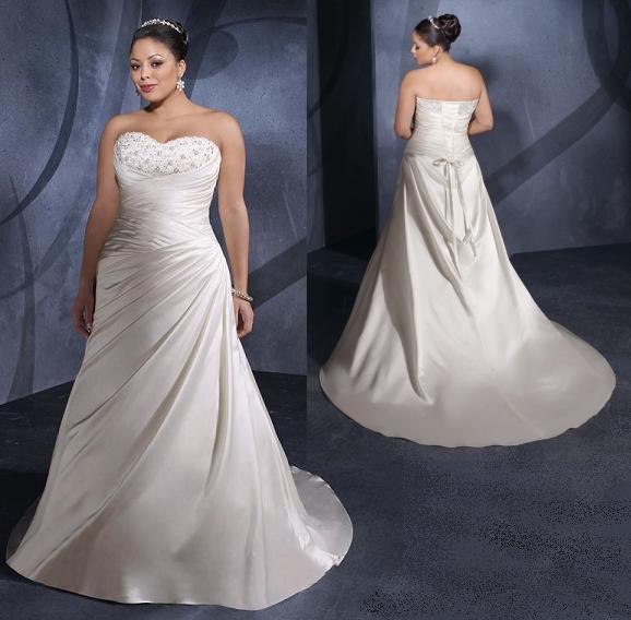Elegant satin beaded full figure wedding gown pre owned for Pre worn wedding dresses