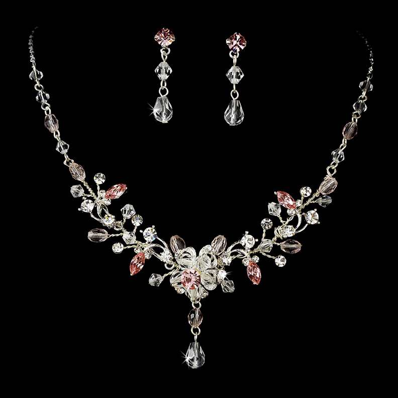 Lady louisa silver pink crystal necklace and earring set for Pink wedding jewelry sets
