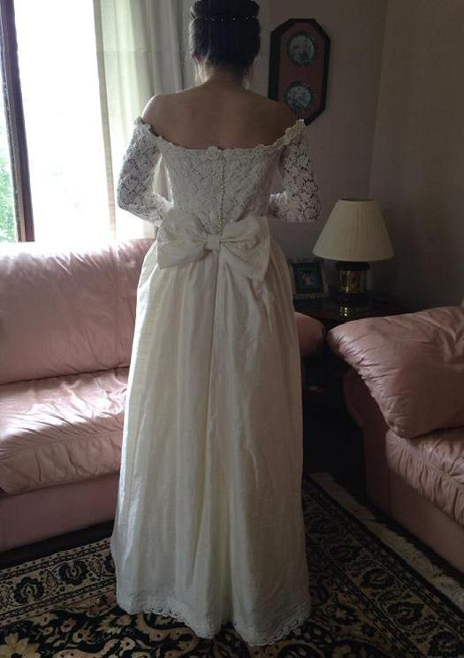 Off the shoulder taffeta gown with detachable train size for Off the shoulder taffeta wedding dress
