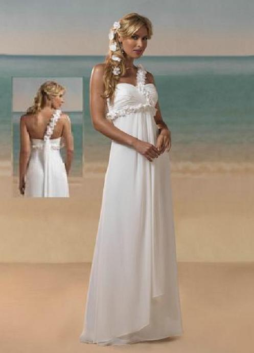 One shoulder chiffon beach wedding dress including for Beach chiffon wedding dress