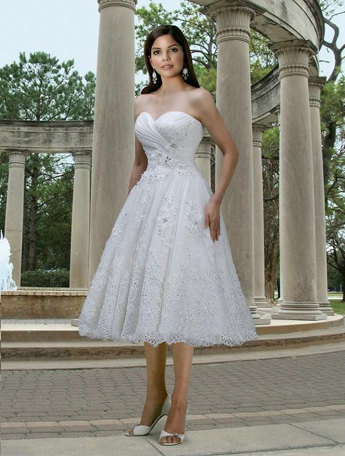 Organza and lace tea length wedding dress for Sweetheart tea length wedding dress