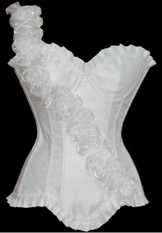 Pretty floral one shoulder underwire fashion corset for Underwear under wedding dress
