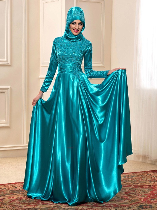 Shimmering Satin Long Sleeve Gown with Hijab for Muslim Bride ...