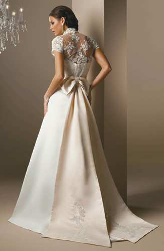 Simple Elegant Satin And Lace Wedding Dress Strapless