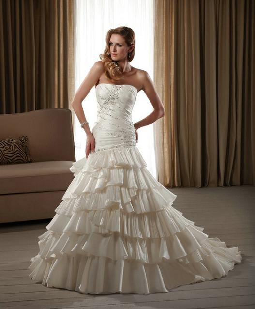 Strapless fit and flare satin bridal gown beaded bodice for Satin fit and flare wedding dress