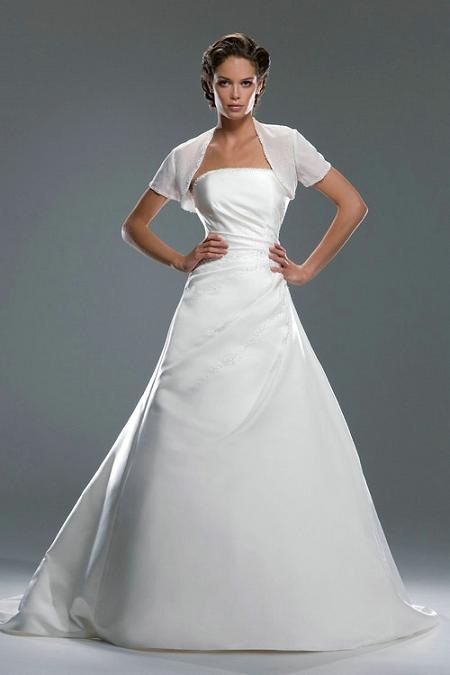 Strapless satin wedding gown with shrug elegant stylish for Wedding dress with shrug