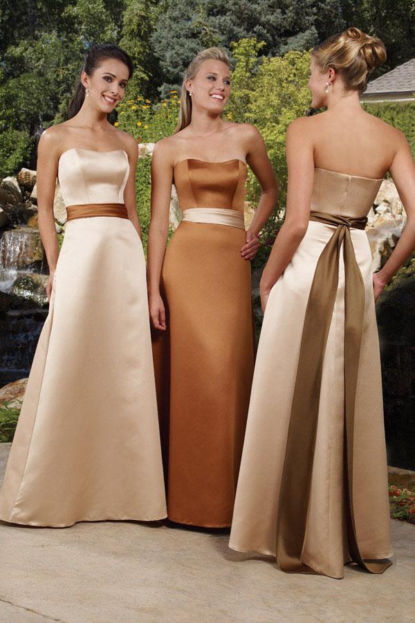 Long Burnt Orange Fall Bridesmaid Dresses