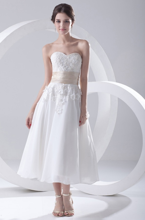 Sweetheart chiffon tea length wedding dress summer fun for Sweetheart neckline tea length wedding dress