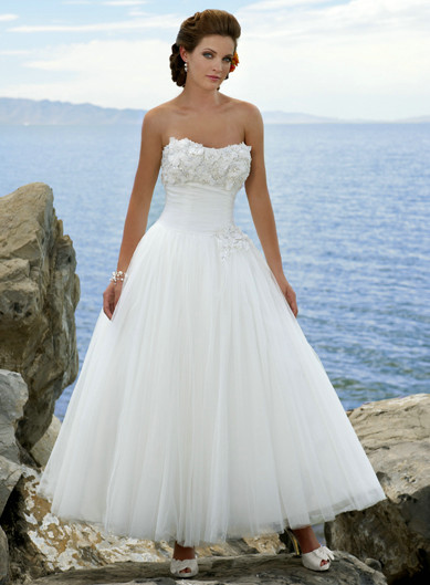 27d997d9b68d This Tulle over Satin Tea Length Dress would be perfect for a Summer Wedding,  and has a full skirt, is strapless with a pretty Sweetheart neckline, ...