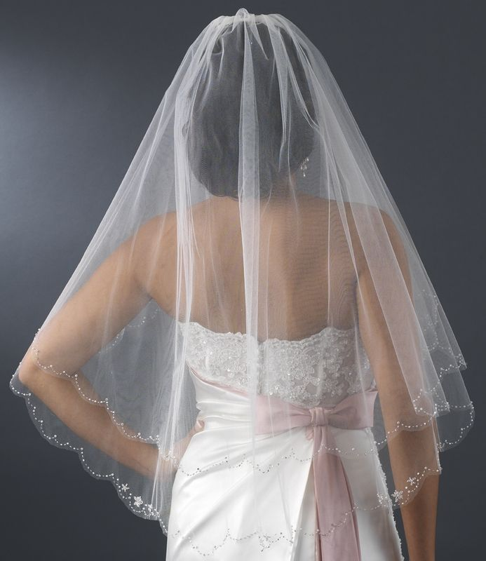 Elegant Wedding Dresses Cheshire : Cheshire wedding veil fingertip length elegant layer bridal