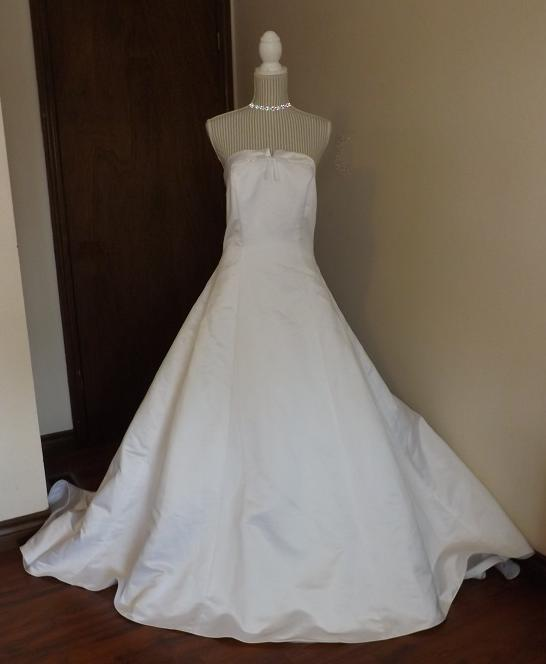 strapless white davids bridals wedding gown size 16 to