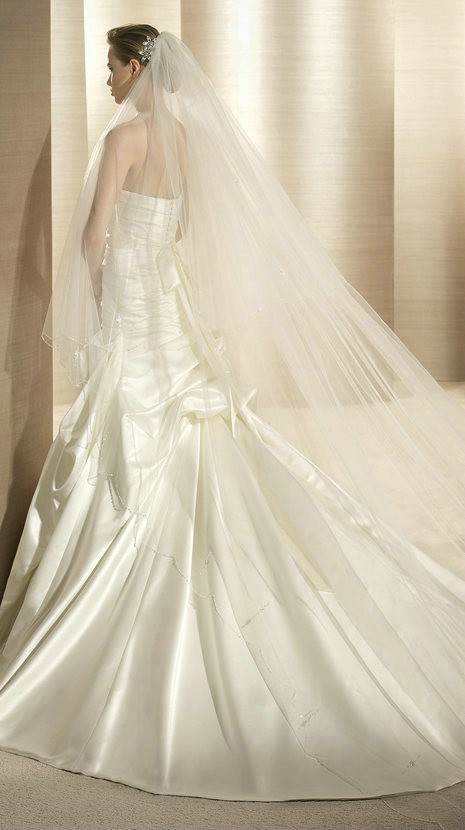 Satin fit and flare style wedding gown strapless for Satin fit and flare wedding dress