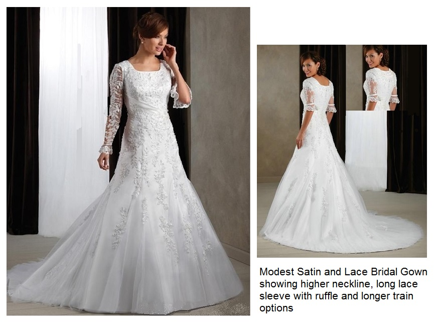 Eirene Modest Wedding Dress Simple Wedding Dress Bridal: Modest Satin And Lace Bridal Gown With Elbow Length
