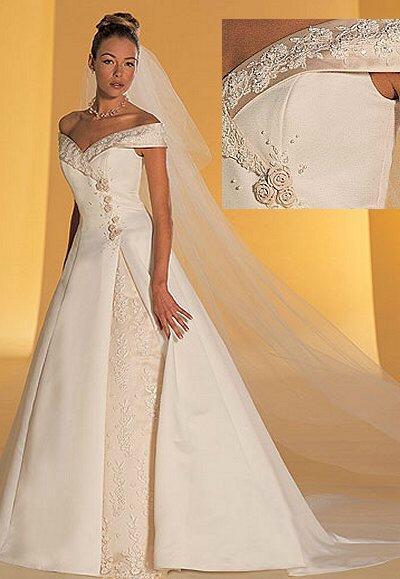Off the shoulder satin bridal gown for Off the shoulder satin wedding dress