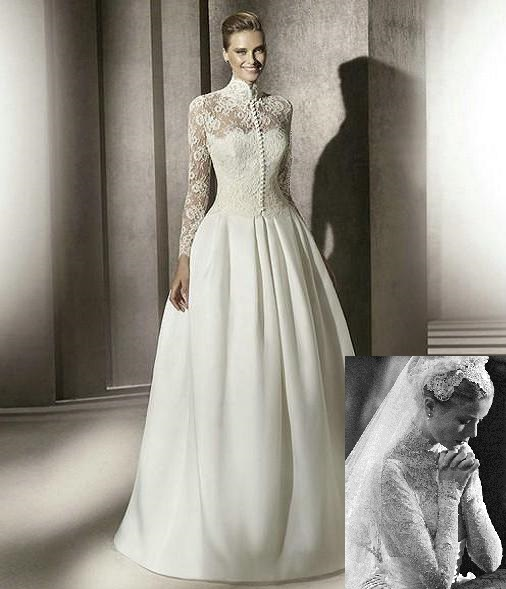 Satin and Lace Long Sleeved Wedding Dress