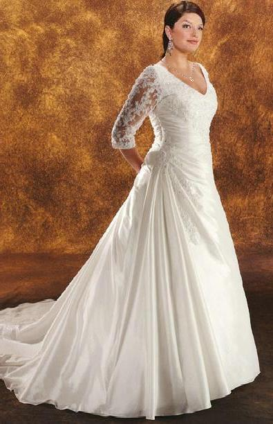 Long Sleeved Taffeta Wedding Gown, Plus Size, $345.00 free delivery ...