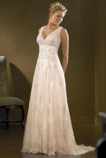 Empire line tulle wedding dress beautiful tulle for Dresses for renewal of wedding vows